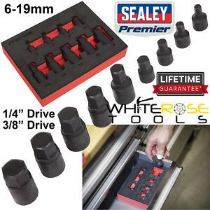 "Sealey Premier Low Profile Impact Hex Socket Bit Set 1/4"" 3/8"" Drive 9pc 6-19mm"