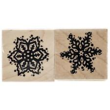 Inkadinkado Christmas Mounted Rubber Stamp, Snowflake, 3 by 1.5-Inch