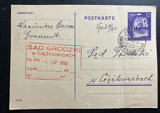 1943 Tarnow General Government Germany Postcard Stationery Cover