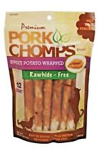 "PORK CHOMPS 12ct 5"" Sweet Potato Stain Free Meat Sticks Dog Treat Rawhide Free"
