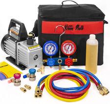 3CFM 1/4HP Vacuum Pump HVAC Refrigeration AC Manifold Gauge Can Tap Tote r134 r1