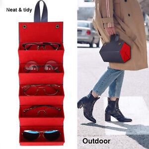 Portable 5 Slots Eye Glasses Bag Sunglasses Cases Foldable Glasses Organizer Box