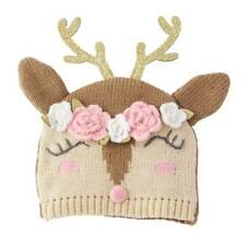 Mud Pie Glitter All The Way Reindeer Girl Knitted Hat  0-6 Months