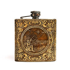 "BIRCH BARK Steel Flask ""Hunter"", Hip Liquor, Whiskey, 6oz"