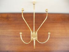 Mid century Hollywood Regency solid brass coat robe hangers hooks wall mounted