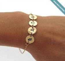 Name Bracelet - Personalized Initials Gold Chain Bracelet - Custom Letter Discs