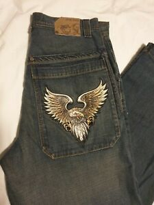 JNCO Baggy Wide Leg Faded Blue Jeans Men's Size 34x32 RARE VINTAGE 90's