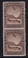 Newfoundland Sc #C9ii (1931) 15c Airmail Watermark & Unwatermarked Pair Mint NH