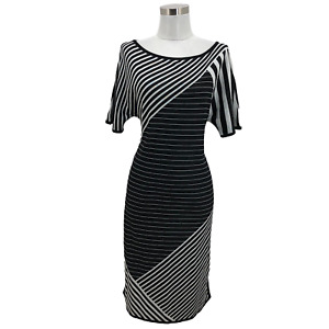 N1426 ST. JOHN Designer Dress Size Small 4 6 Black White Stripe Sheath Crewneck