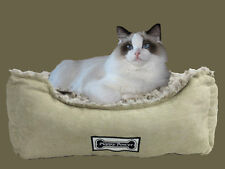 **EX-DISPLAY** Padded Cat and Dog Bed, Pet Basket, Faux Suede & Sheepskin - Sand