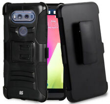 BLACK RUGGED CASE COVER WITH STAND + BELT CLIP HOLSTER FOR LG V20 PHONE
