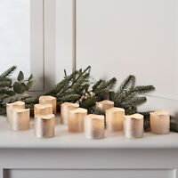 Set of 12 Champagne Gold Wax Battery Operated Flameless LED Xmas Votive Candles