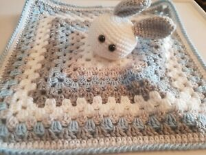 Handmade crochet blue rabbit soft toy comforter/security blanket,16 inch square.