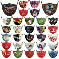 Stoffmaske Mund Nase Behelfsmaske Weihnachten Maske waschbar PM2.5 Filter Tasche