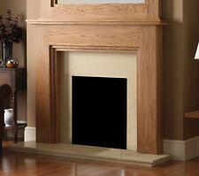 GAS ELECTRIC OAK SURROUND CREAM MARBLE STONE MODERN FIRE SET FIREPLACE SUITE