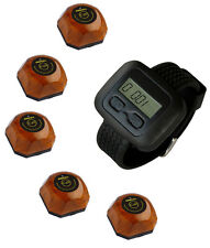 SINGCALL Wireless Calling Pager Systems 1 Watch Receiver 5 Waiter Button Bells