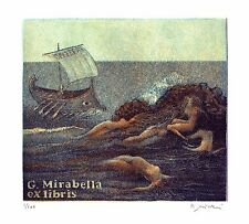 B. Missieri, Ex libris Mirabella, Ulysses, etching, signed