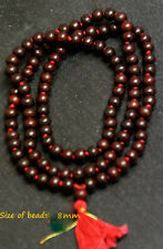 TULSI RED TULASI 8 MM JAPA MALA ROSARY 108+1 BEADS PRAYER YOGA MEDITATION OM AUM