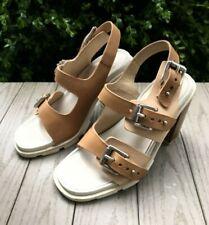 Rag & Bone Size 7 Baron Tan Sand Leather Buckle Heels Sandals brown wooden EU 37