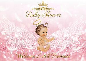 7x5ft Baby Shower Little Princess Angel Wings Vinyl Backdrop Photo Background LB