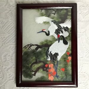 """Asian Hand Embroidered Silk Art Picture Cranes Wooden Framed 6"""" × 8"""""""