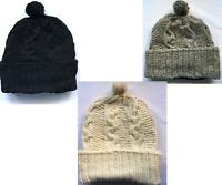 Hand-knitted Wool Woollen Hat Slouch Beanie Bobble Fleece Lined
