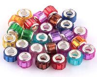50pcs Mix SILVER MURANO bead LAMPWORK fit European Charm Bracelet DIY AB912