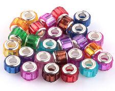 wholesale100pcs Mix SILVER MURANO bead LAMPWORK fit European Charm Bracelet DIY