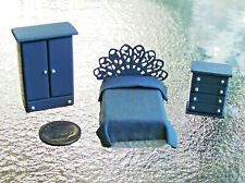 Miniature HANDCRAFTED 1:48 Scale BEDROOM SET (Bed Dresser Nite Stand) by Misti