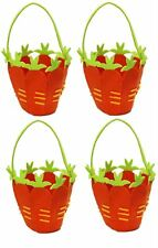 4 Fabric Carrot Easter Egg Treasure Hunt Basket Fun Bunny Felt Bucket & Handle