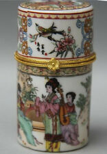 Chinese Porcelain Palace Belle play music Round Toothpick box