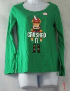Family Pajamas Women's Pajama Top, Green Christmas Nutcracker, XS