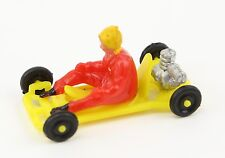 Vintage 60's Go Kart Racing Plastic Toy Cake Topper Vending Machine Prize YELLOW
