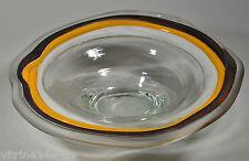 "DESIGN GLASSCHALE AUS KLAREM GLAS FARBIG BEMALT Signatur ""ELM"" Ø 29 cm"