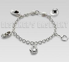 GUCCI Sterling Silver 7.25 BEAR SHOES BIT CAP Charms chain Bracelet NWT Authentc