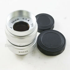 "25mm f/1.4 C Mount 1/2"" CCTV Lens Silver Body for Sony NEX Micro 4/3 M43 camera"