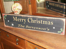 Personalized MERRY CHRISTMAS  wood sign primitive