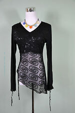 Women Vtg Retro Black Evening Sheer Made in Italy Long Sleeve Sexy Blouse One sz