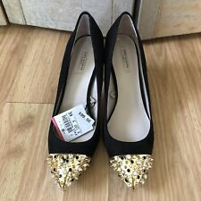 Zara Cap Toe Spike Heels Gold Court Black Suede Crystal Stone Pumps NIB 39 8