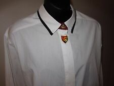 1980s Vtg Sz 14 Jantzen White Shirt Blouse Coat of Arms Lion Rampant Black Trim
