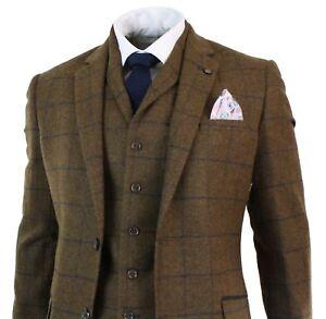 Costume 3 pièces style Peaky Blinders tweed carreaux chevrons marron laine homme