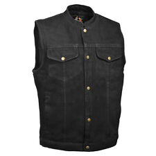 SNAP Denim VEST Motorcycle Biker Jean No Back Seam for Patches Concealed Carry