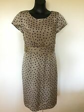 Size 12 Smart Flattering Light Brown Black Dot Dress - Table Eight