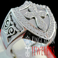 MENS REAL GENUINE SILVER SIMU DIAMOND CROSS RING BAND 10K WHITE GOLD FINISH