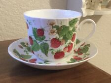 Roy Kirkham Strawberry Fruit Garden Breakfast Cup and Saucer Large 15 oz.