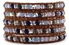 Chan Luu Purple Crystal Mix Wrap Bracelet on Natural Brown Leather