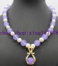 "7-8mm White Pearl&10mm Round Lavender Purple Jade Gems Pendant Necklace 20"" 999*"