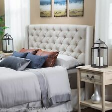 Bedroom Furniture Queen/Full Size Bed Wingback Beige Tufted Fabric Headboard