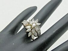 5.5, 6.10 grams, Many Stones 14kt Cubic Zirconia Engagement/Waterfall Ring, Sz.