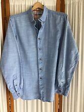 Tailor Vintage Button Down Light Blue Chambray 100% Cotton Mens Shirt Size L